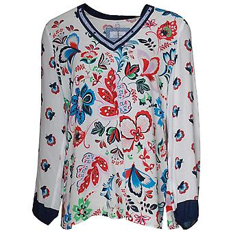 Just White Long Sleeve Floral Print Tunic Top