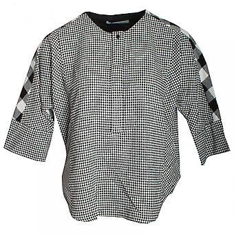 Oui 3/4 Sleeve Check Cotton Top