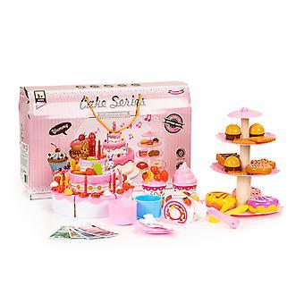 Speelgoed taart en cup cake set snijbaar 76-delig – Roze