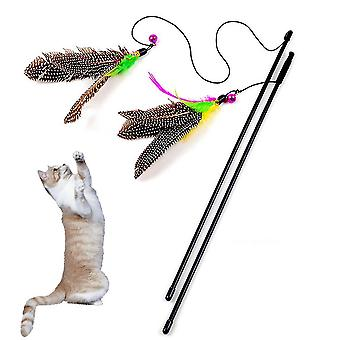 Colorful Multi Pet Cat Toys Bird Feather Teaser Wand Plastic Pet Toy