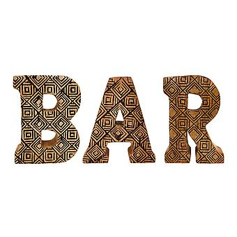 Handsnidad trägeometrisk bokstäver Bar