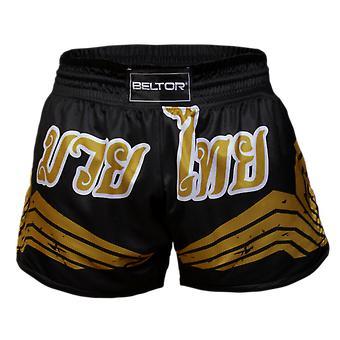Sport shorts Muay Thai Zwart Goud - Maat S - Vechtsport kleding
