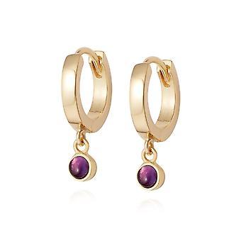 Daisy Amethyst Healing Huggie Hoops 18ct Gold Plate Earrings HE3002_GP