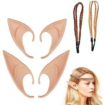 Elfenohren Set, 2 Paar Fantasy Latex Elf Ohren mit 2er Haarband Hobbit Spitzohren zum Aufstecken für