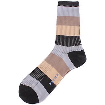 Falke Blocky Raidalliset sukat - Musta/Harmaa/Ruskea
