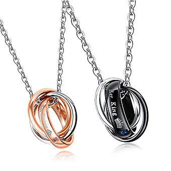"""(couples)  Mens Womens Stainless Steel """"her King his Queen"""" Crown Rings Pendant Couple Necklace"""
