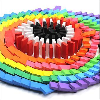 Färgglada trä dominoes block för tidig pedagogisk leksak 120st kakel spel