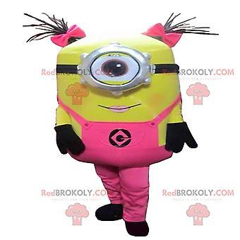 """Maskottchen REDBROKOLY.COM Von Minions, rosa gekleidet aus dem Film """"Ich, hässlich und böse"""""""