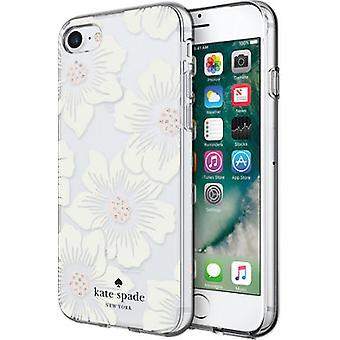Kate Spade estojo flexível de concha flexível para Apple iPhone 8 / 7 - Hollyhock Floral Clear/Cream com Pedras
