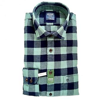 OLYMP Olymp Mint And Navy Check Shirt 4072 84 45