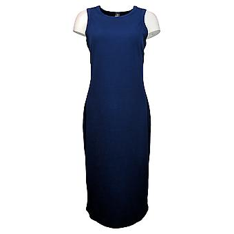 WVVY By Fitty Britttty Dress High Neck Ribbed Knit Midi Blue 739157