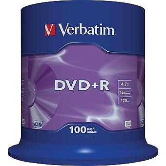 Verbatim DVD + R, 16 X, 4.7 GB/120 min, 100-Pack Spindel, AZO