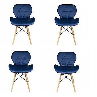 Eetkamer stoelen set van 4 velours marineblauw  Scandinavisch design
