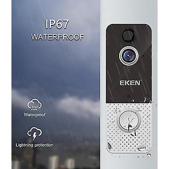 Door bells chimes wifi weatherproof smart video doorbell camera 1080p visual intercom black