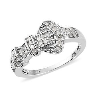 TJC White Diamond Belt Ring for Women Platinum Plated Silver 0.33ct(Q)