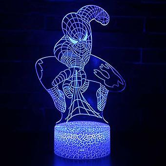 3d Touch Lamp Night Lights Child 7 Colors With Remote Control - Spiderman