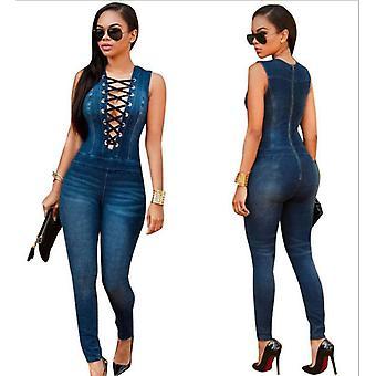 Blue Denim Sleeveless Faded Jeans Cross Neck Jumpsuit Overalls
