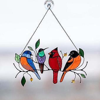 Wohnaccessoires, kleine Vogelbemalte Ornamente, unabhängige Frühlingsvogelfensterornamente (a)