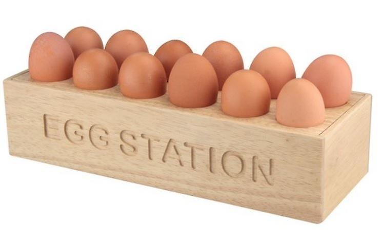 Natural Hevea Wood 12 Egg Stroage Holder Tray Station Kitchen Home