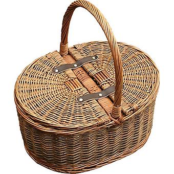 Two Tone Oval Picnic 2 Lids Empty Picnic Basket