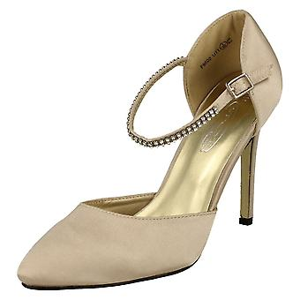 Kära Anne Michelle part sko med Diamante ankel rem