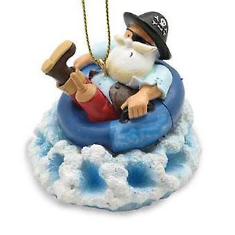 Peg Leg Pirate Santa in Inner Tube Christmas Holiday Ornament