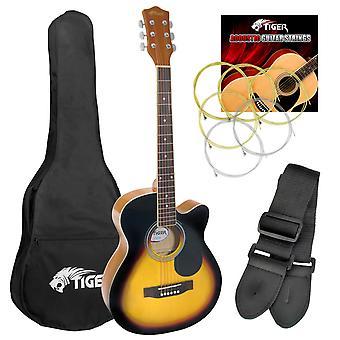 Tiger Full Size Beginners Acoustic Guitar Pack, Bag, Strap & Strings -