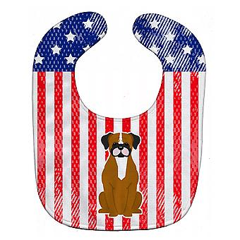 Carolines Treasures  BB3111BIB Patriotic USA Flashy Fawn Boxer Baby Bib
