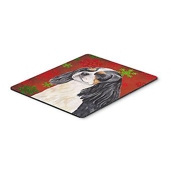 Cavalier Spaniel Red and Green Snowflakes Christmas Mouse Pad, Hot Pad Trivet