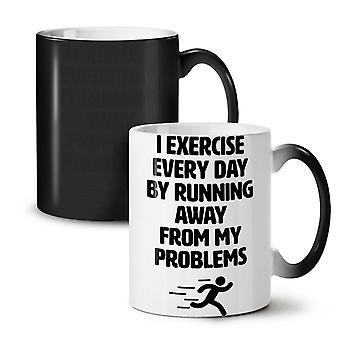 Run Away Problem Funny NEW Black Colour Changing Tea Coffee Ceramic Mug 11 oz | Wellcoda