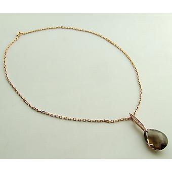 Gold necklace with smoky quartz and diamond