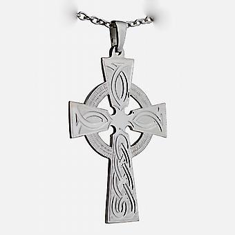 Gümüş 50x36mm el oyma düğüm desen Celtic Cross bir kablo Zinciri 24 inç