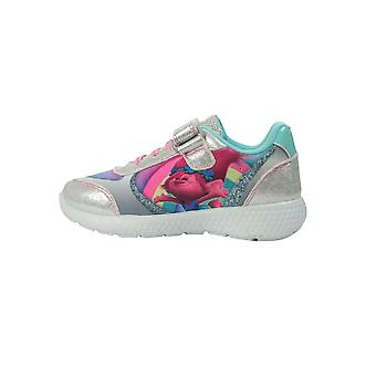 Girls Trolls Silver Glitter Sports Canvas Trainers Shoes Hook & Loop UK Sizes 6 - 12