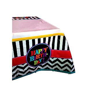 Paño de tabla de diseño de Chevron de feliz cumpleaños