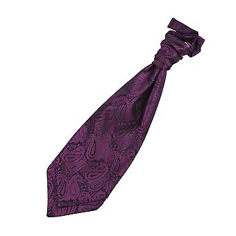 紫ペイズリー結んで結婚式ネクタイ