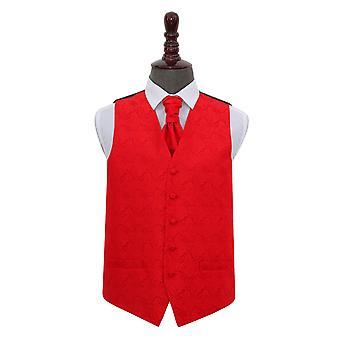 Rød Paisley bryllup vest & Cravat sæt