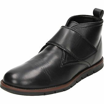 Dr Keller Touch Fastening Black Leather Ankle Boots