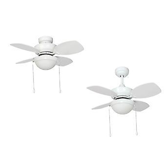 Plafonnier ventilateur Kompact blanc 71cm/28
