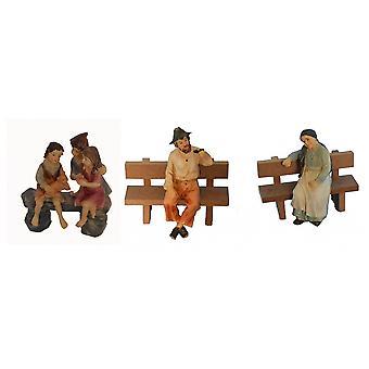 Krippenfiguren 3-tlg. Set Polyresin Krippe Figuren 11 cm 3er Set Oma Opa Kinder