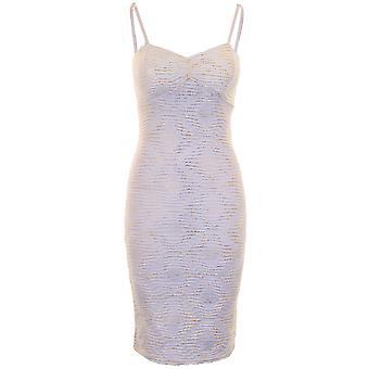 Damen verstellbarer Gurt Glittery Crinkle Diamond Woman gepolsterte Bodycon Kleid