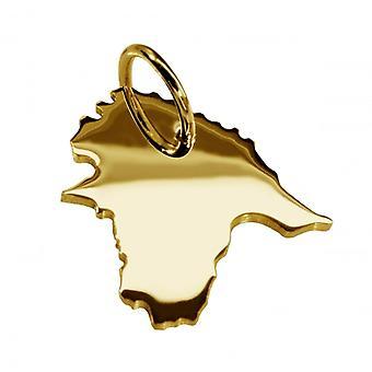 Släpvagn karta hängsmycken i guld gul-guld i form av Estland