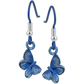 Ti2 Titanium Wald mittlerer Schmetterling Ohrringe - blau