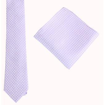 Jeu de Knightsbridge Neckwear vérifier cravate et mouchoir de poche - violet