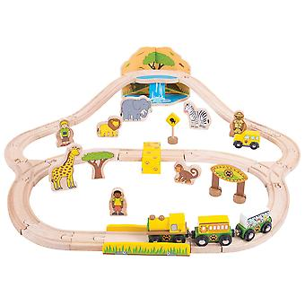 Bigjigs Rail Wooden Safari Train Track Play Set with Accessories Compatible