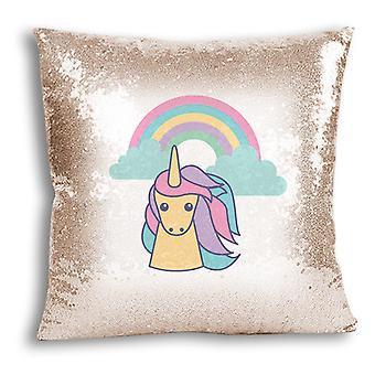 i-Tronixs - Unicorn Printed Design Champagne Sequin Cushion / Pillow Cover with Inserted Pillow for Home Decor - 3