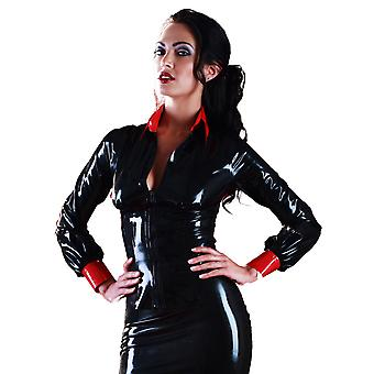 Skin Two Clothing Women's Saucy Top Contour Seamed Latex Rubber Black & Red