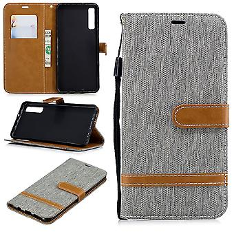 Case for Samsung Galaxy A7 2018 jeans cover cell protection sleeve case grey