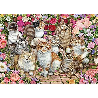Falcon Deluxe Floral Cats  Jigsaw Puzzle (1000 pieces)