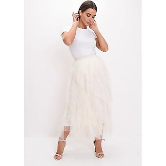 Alta vita Layered Tulle Increspature Midi Skirt Beige