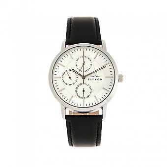 Elevon Lear Leather-Band Watch w/Day/Date- Black/Silver